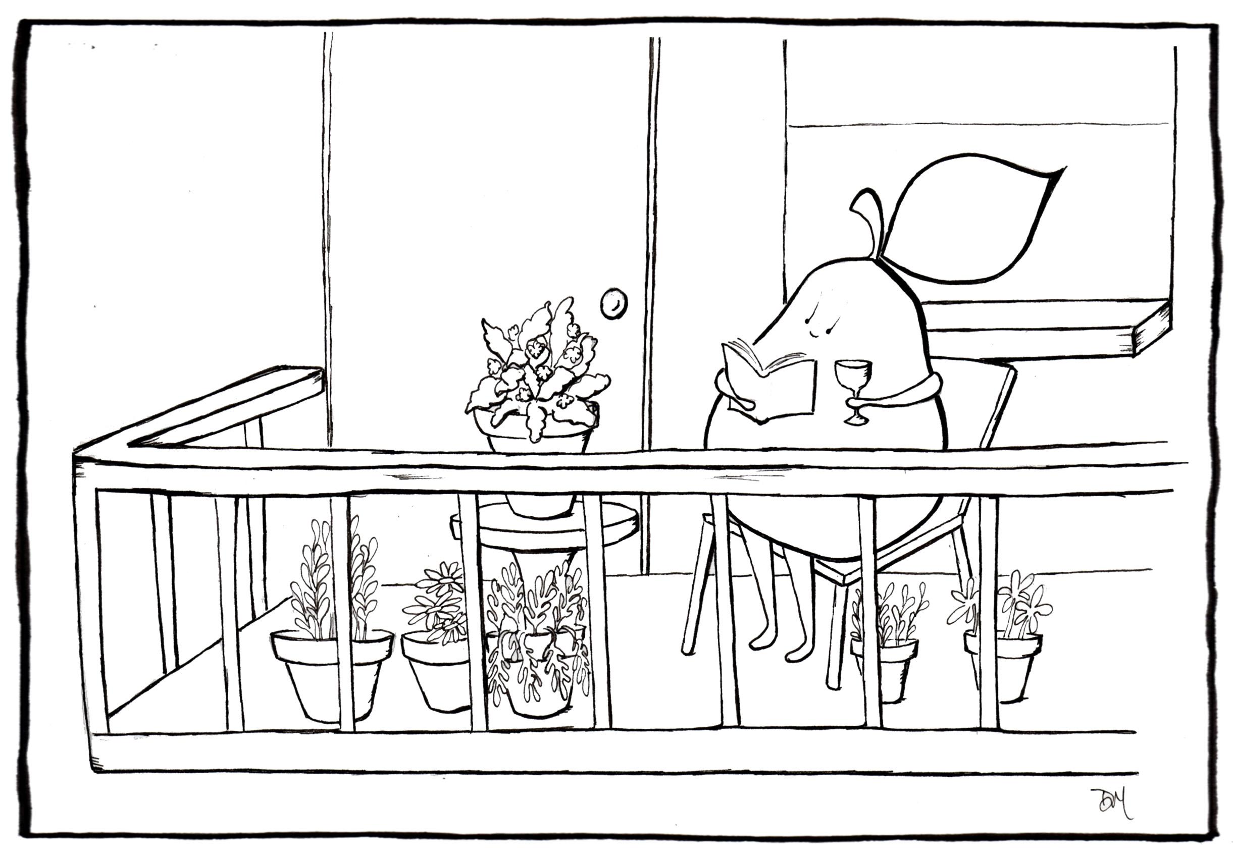 Pears like sitting on the balcony angry pear for Balcony cartoon