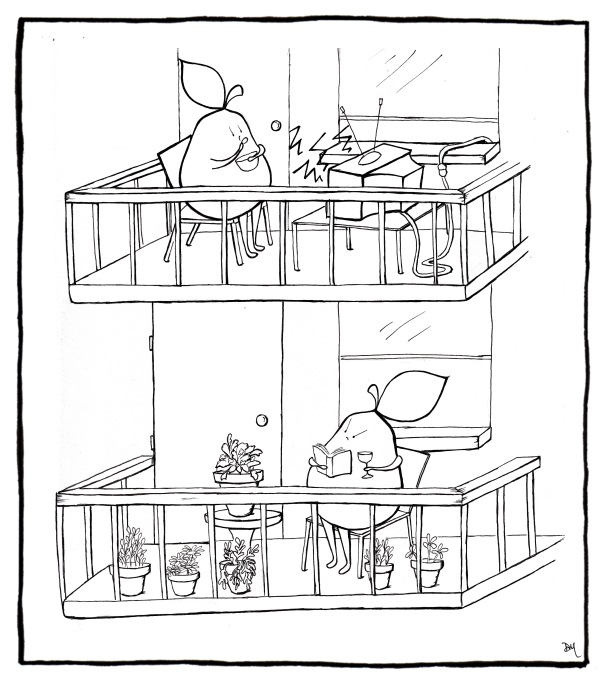 Noisy angry pear for Balcony cartoon