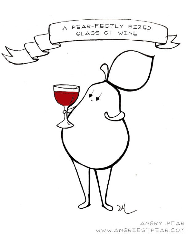 a pearfectly sized glass of wine