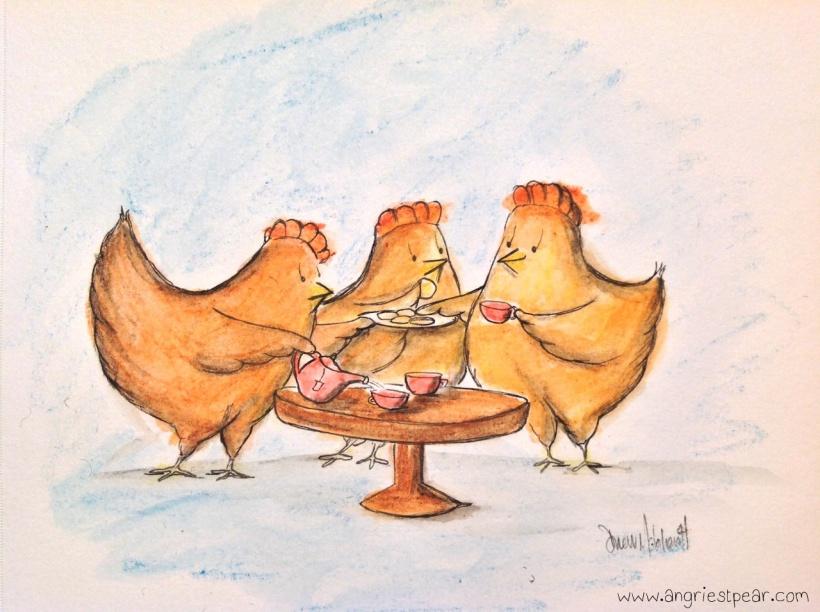chickens having tea 2