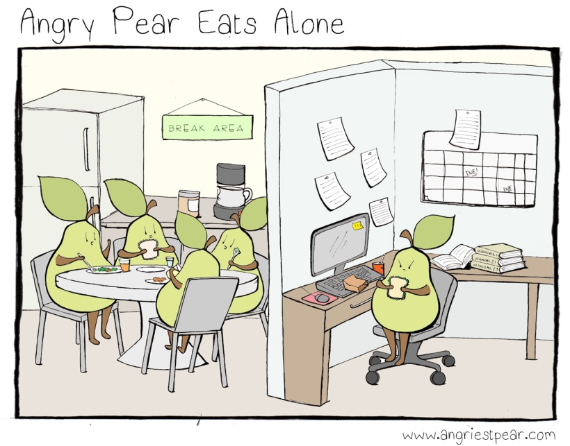 angry pear eats alone